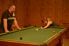 Playing Billiards in Nordlaw Lodge