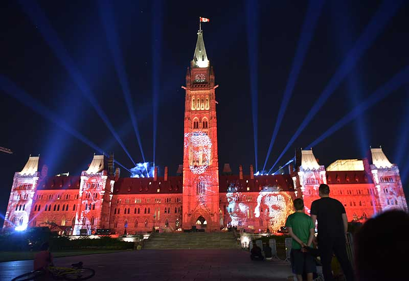 Parliament Hill Light Show in Ottawa