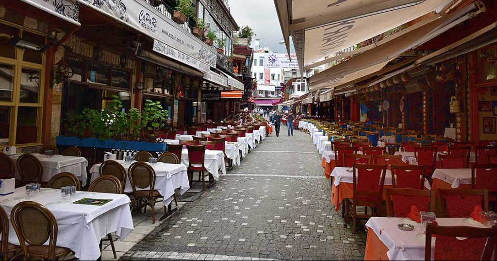 Kumkapi, Istanbul, street of restaurants, close to fish market